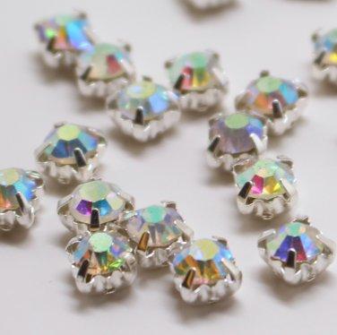 montee loose 4.0mm crystal sew on AB rhinestone Silver 1440 pcs