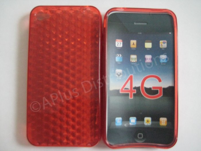 Diamond Cut TPU Soft Case Cover for apple iphone 4G(RED)