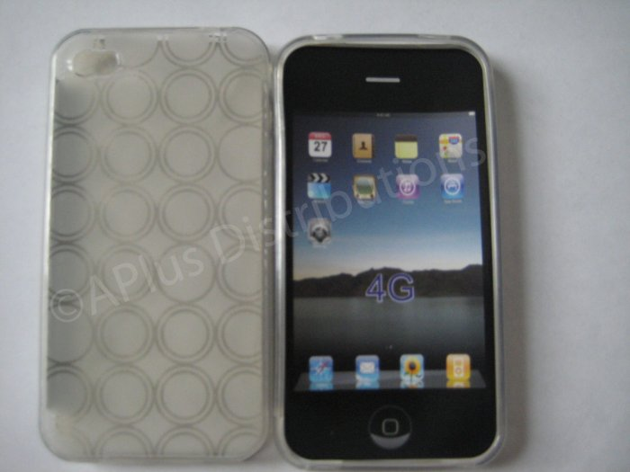 Multi-Circles TPU Soft Case Cover for apple iphone 4G(Clear)