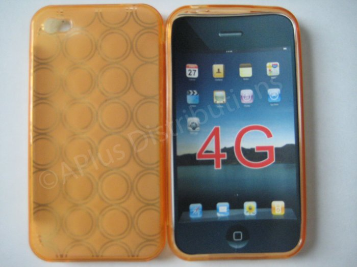 Multi-Circles TPU Soft Case Cover for apple iphone 4G(Orange)