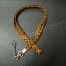 NEW FASHIONABLE SUEDE CHECKERED PATTERN LANYARD - BROWN