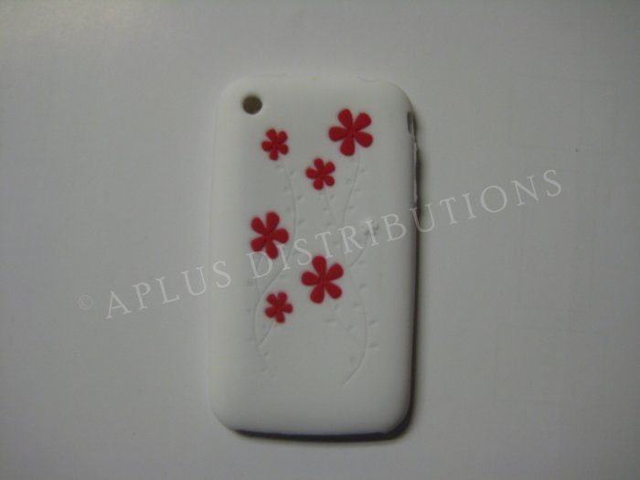New White Daisies Design Silicone Cover For iPhone 3G 3GS - (0033)