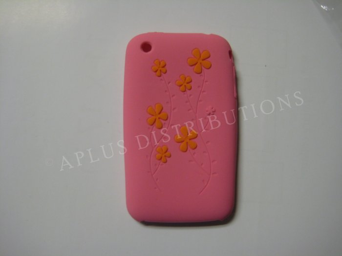 New Pink Daisies Design Silicone Cover For iPhone 3G 3GS - (0035)