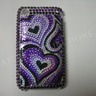 New Purple Heart Series (Groovy) Design Crystal Bling Diamond Case For iPhone 3G 3Gs - (0017)