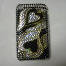 New Black Heart Series (Groovy) Design Crystal Bling Diamond Case For iPhone 3G 3Gs - (0011)