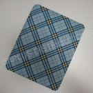 Plastic Hard Back Snap-On Cover for Apple iPad Plaid Pattern - LIGHT BLUE