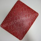 Plastic Hard Back Snap-On Cover for Apple iPad FLOWER GLITTER VINE- RED