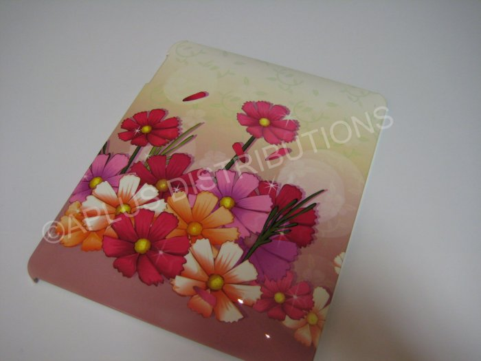 Plastic Hard Back Snap-On Cover for Apple iPad FLOWER POWER-MULTI-COLOR