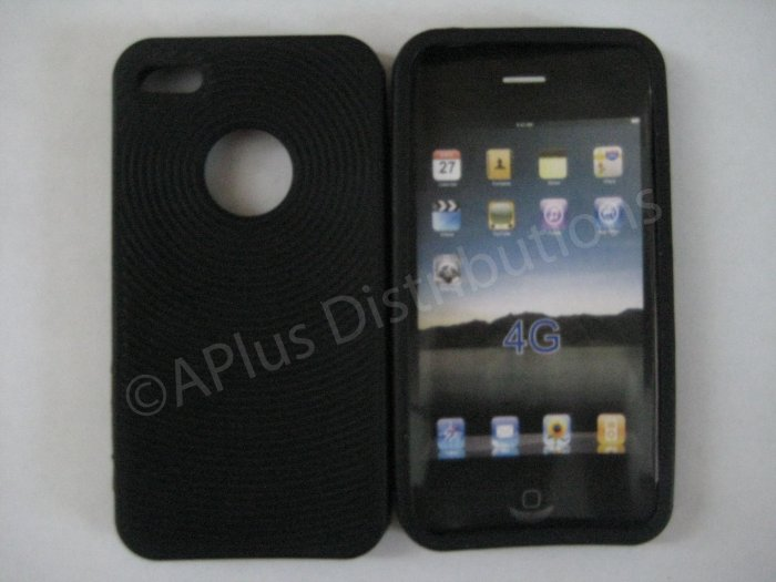 New Black Thumb Print Pattern Silicone Cover For iPhone 4 - (0004)