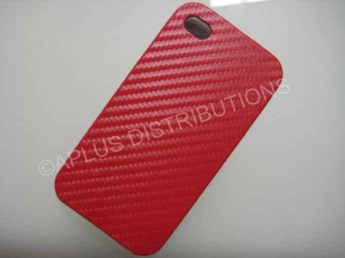 New Red Carbon Flap Cover Design Hard Protective Cover For iPhone 4 - (0135)