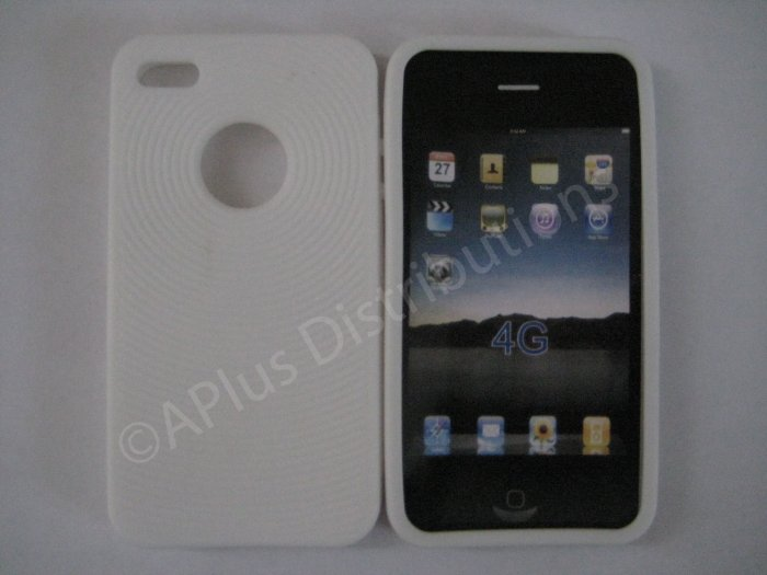 New White Thumb Print Pattern Silicone Cover For iPhone 4 - (0137)