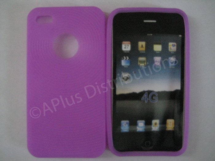New Purple Thumb Print Pattern Silicone Cover For iPhone 4 - (0133)