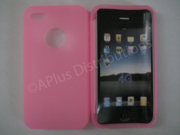 New Pink Thumb Print Pattern Silicone Cover For iPhone 4 - (0135)