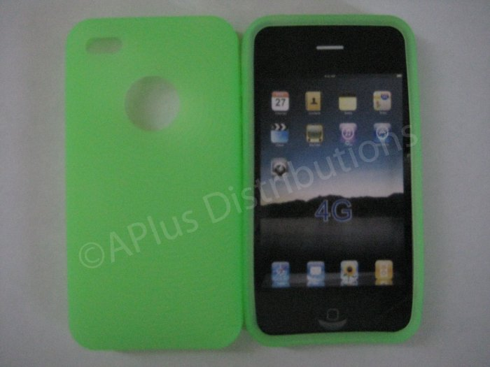 New Lime Green Thumb Print Pattern Silicone Cover For iPhone 4 - (0138)