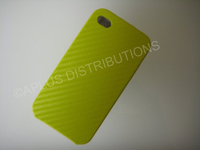 New Yellow Carbon Flap Cover Design Hard Protective Cover For iPhone 4 - (0138)