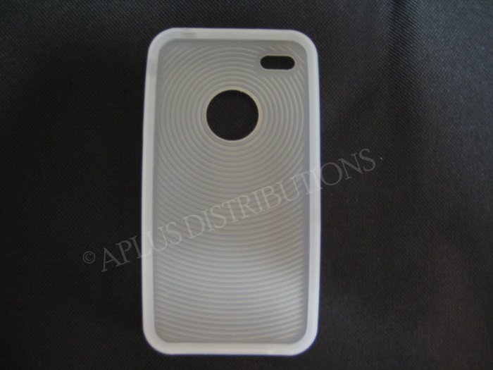 New Clear Thumb Print Pattern Silicone Cover For iPhone 4 - (0134)