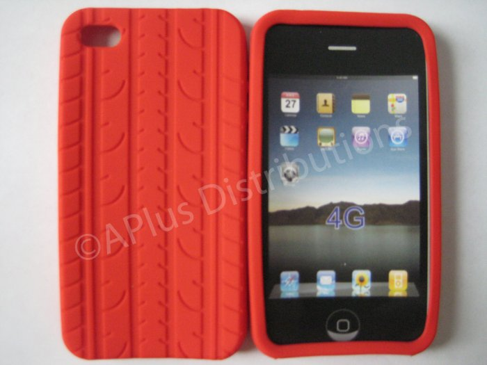 New Red Tire Print Pattern Design Silicone Cover For iPhone 4 - (0010)