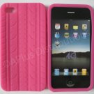 New Hot Pink Tire Print Pattern Silicone Cover For iPhone 4 - (0127)
