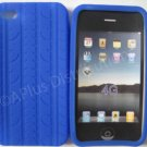 New Dark Blue Tire Print Pattern Silicone Cover For iPhone 4 - (0132)