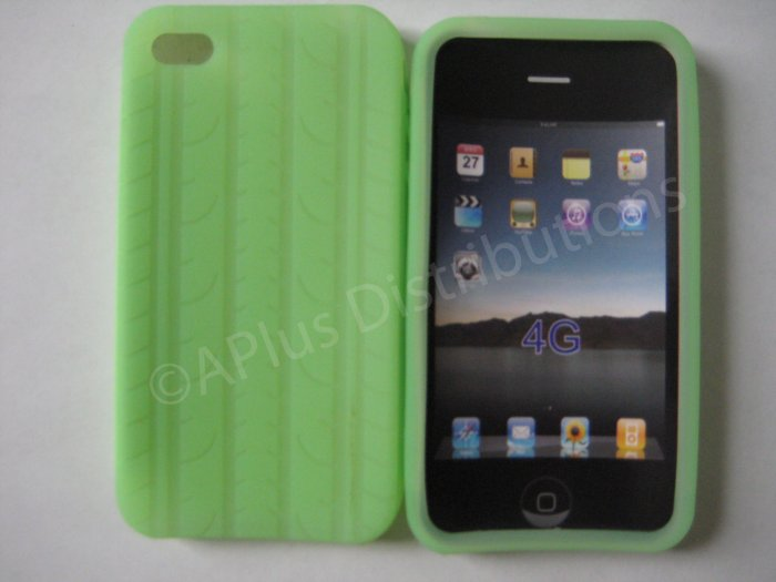 New Lime Green Tire Print Pattern Silicone Cover For iPhone 4 - (0131)