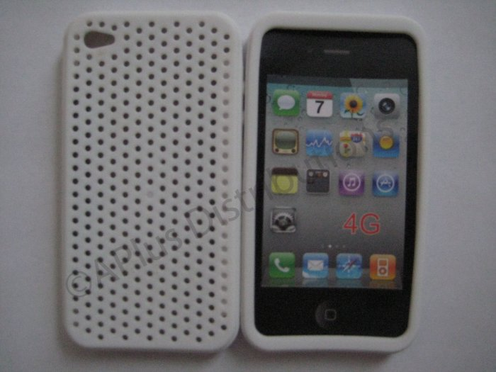 New White Breathable Mesh Design Silicone Cover For iPhone 4 - (0166)