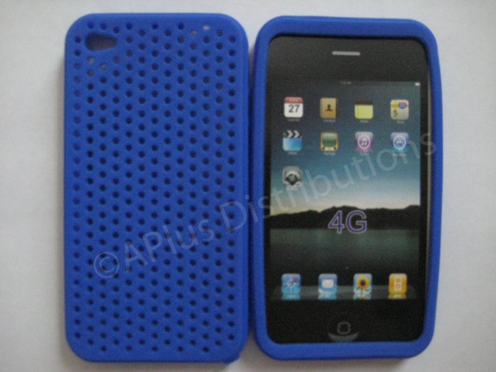 New Dark Blue Breathable Mesh Design Silicone Cover For iPhone 4 - (0172)