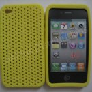 New Yellow Breathable Mesh Design Silicone Cover For iPhone 4 - (0171)