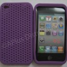 New Purple Breathable Mesh Design Silicone Cover For iPhone 4 - (0170)