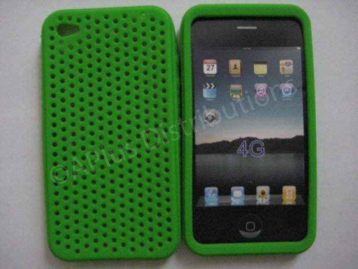 New Lime Green Breathable Mesh Design Silicone Cover For iPhone 4 - (0165)