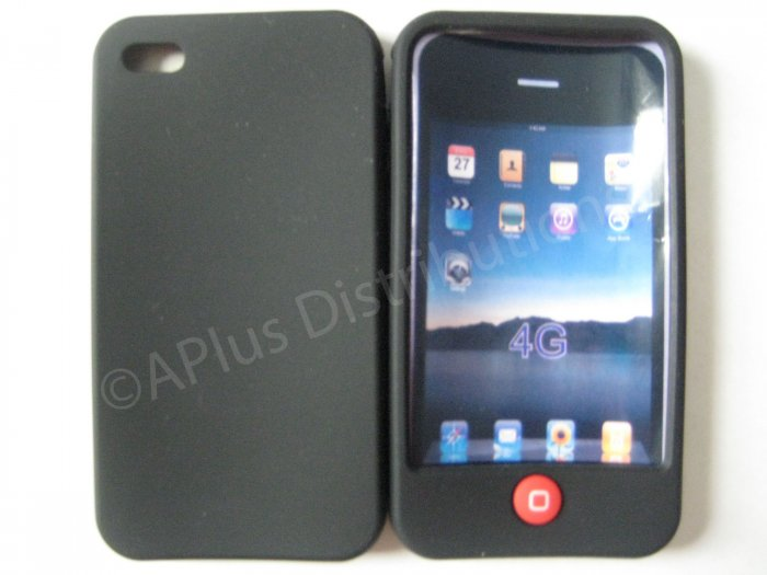 New Black Solid Color W/Candy Button Design Silicone Cover For iPhone 4 - (0157)