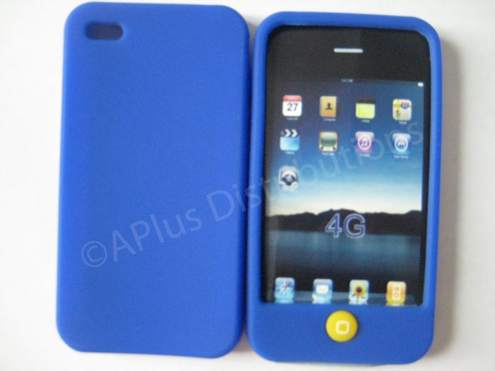 New Dark Blue Solid Color W/Candy Button Design Silicone Cover For iPhone 4 - (0154)