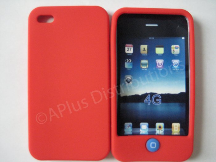 New Red Solid Color W/Candy Button Design Silicone Cover For iPhone 4 - (0155)