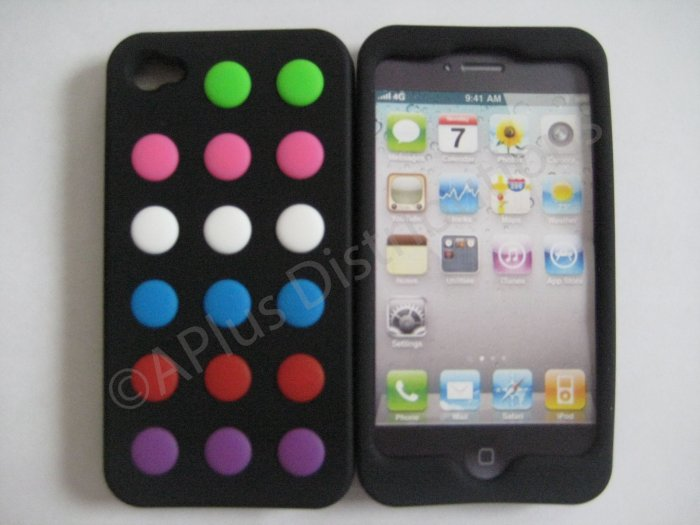 New Black Colorful Beans Dots Design Silicone Cover For iPhone 4 - (0139)