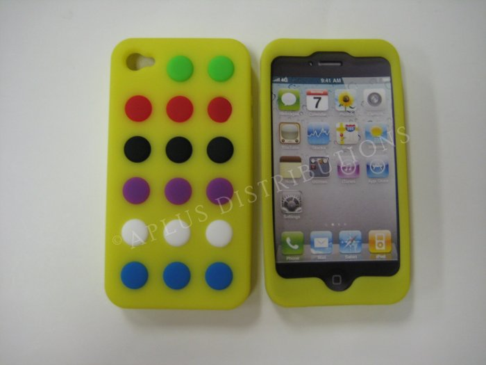 New Yellow Colorful Beans Dots Design Silicone Cover For iPhone 4 - (0140)
