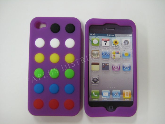 New Purple Colorful Beans Dots Design Silicone Cover For iPhone 4 - (0144)