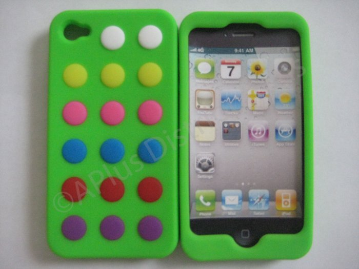 New Lime Green Colorful Beans Dots Design Silicone Cover For iPhone 4 - (0143)