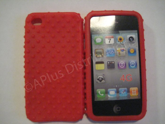 New Red Multi-Bumps Design Silicone Cover For iPhone 4 - (0159)