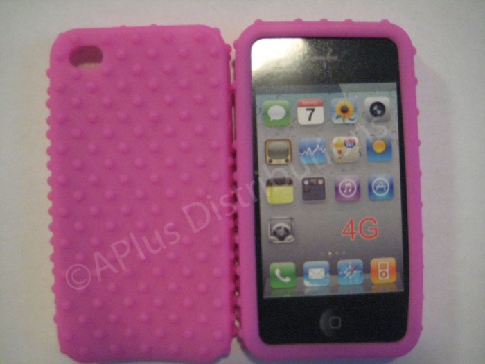 New Pink Multi-Bumps Design Silicone Cover For iPhone 4 - (0160)