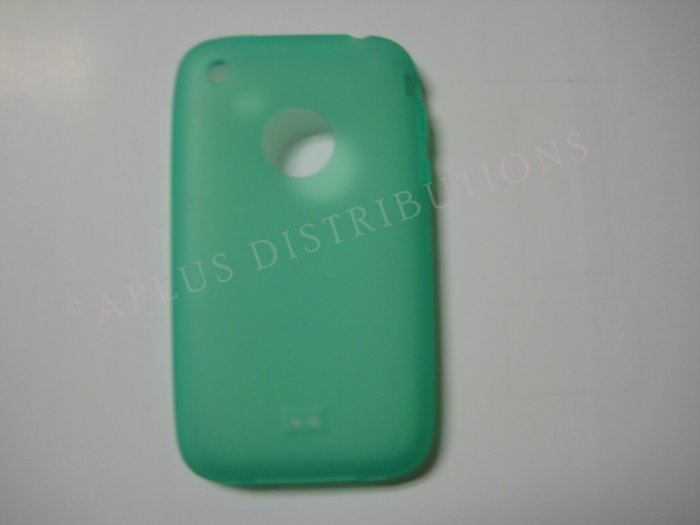 New Green Transparent W/Charm Hole Design TPU Cover For iPhone 3G 3GS - (0001)