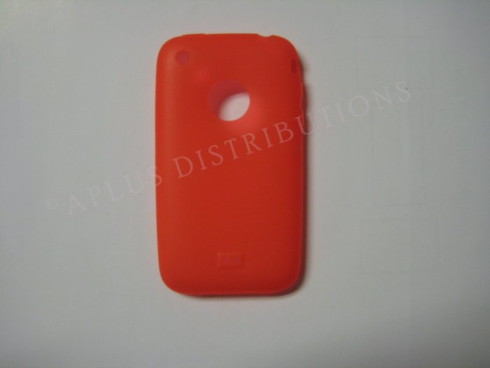 New Red Transparent W/Charm Hole Design TPU Cover For iPhone 3G 3GS - (0003)