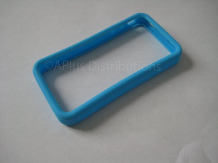 New Sky Blue Bumper Design Silicone Cover For iPhone 4 - (0119)