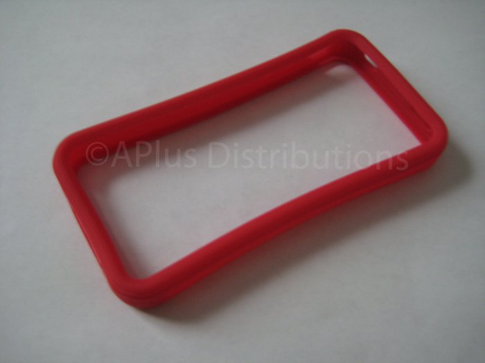 New Red Bumper Design Silicone Cover For iPhone 4 - (0116)