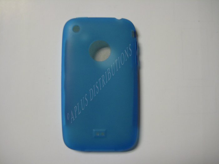 New Blue Transparent W/Charm Hole Design TPU Cover For iPhone 3G 3GS - (0005)