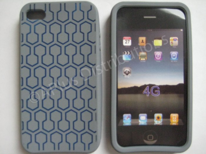 New Gray Honey Comb Pattern Silicone Cover For iPhone 4 - (0102)