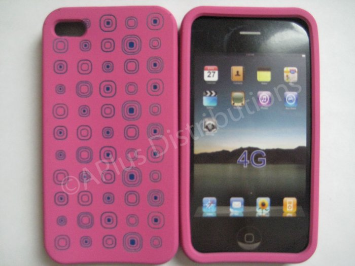 New Pink Squares Pattern Silicone Cover For iPhone 4 - (0104)