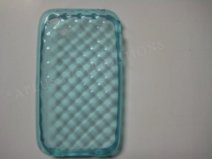 New Blue Big Diamond Cut Pattern TPU Cover For iPhone 3G 3GS - (0008)