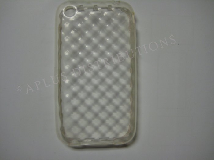 New Clear Big Diamond Cut Pattern TPU Cover For iPhone 3G 3GS - (0007)