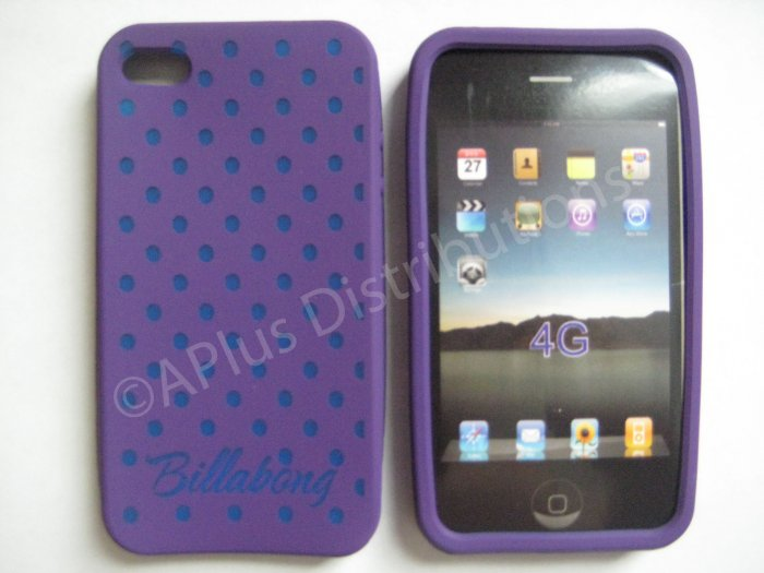 New Purple Billabong Pattern Silicone Cover For iPhone 4 - (0105)
