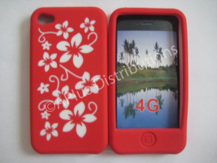 New Red Hawaiian Print Flower Design Silicone Cover For iPhone 4 - (0123)
