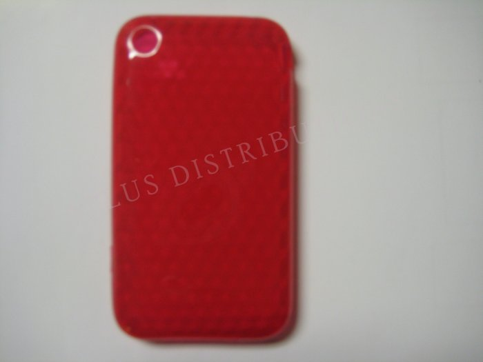 New Red Diamond Cut Pattern TPU Cover For iPhone 3G 3GS - (0013)